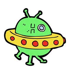 Comic cartoon UFO vector