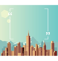 Copyspace on city and mountain background vector
