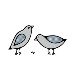 Couple of cute city birds by the meal vector