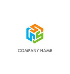 Cube s polygon logo vector