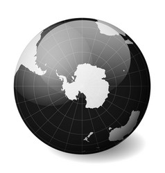 Earth globe with white world map and black seas vector