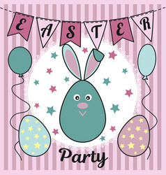 easter party invitation with a cute rabbit or a vector image