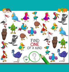 Find one of a kind with birds characters vector