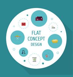 Flat icons housekeeping carpet vacuuming towel vector