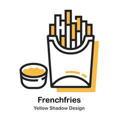french fries lineal color vector image