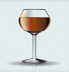 Glass of cognac on transparent background vector