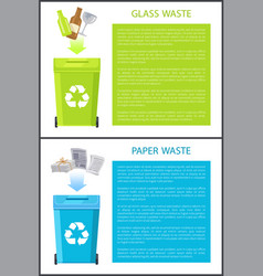 Glass paper waste collection vector