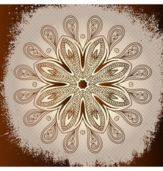 Grunge brown mandala background vector image
