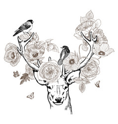 Hand drawn realistic deer surrounded by flowers vector