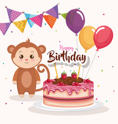 happy birthday card with monkey vector image