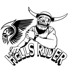 Hells rider black drawing vector