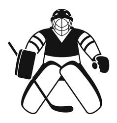 Hockey goalkeeper icon simple style vector image