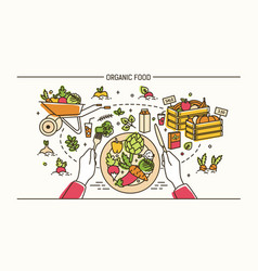 horizontal banner with hands holding fork and vector image