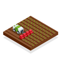 isometric automation smart farming on the field vector image