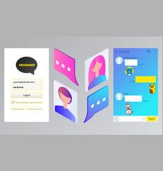 kakao talk messenger chat interface and avatars vector image