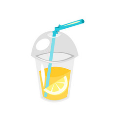 lemonade in plastic cup vector image