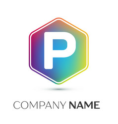 letter p logo symbol in the colorful hexagonal on vector image