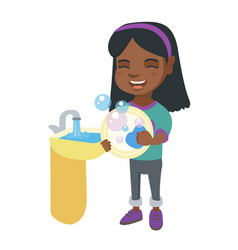 little african girl washing dishes in the sink vector image