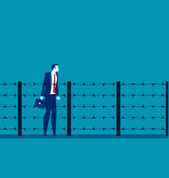 Man and fence barbed wire concept business vector