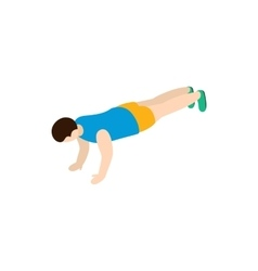 Man exercising push-ups icon isometric 3d style vector image