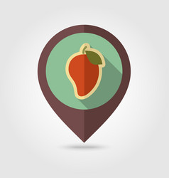 Mango flat pin map icon tropical fruit vector