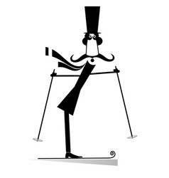 mustache man in the top hat a skier isolated vector image