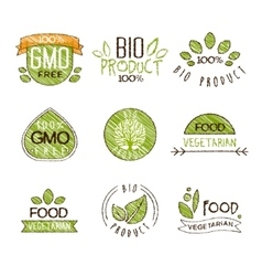Natural Organic Labels Set in vector image