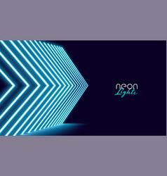 Neon perspective directional arrow lights vector