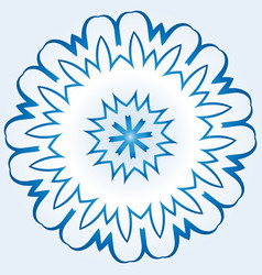 Octagonal blue and white snowflake on light blue vector