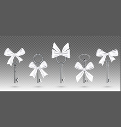 old silver keys with tied white bow for gift vector image