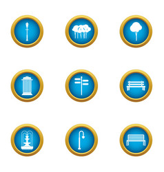 Park bench icons set flat style vector