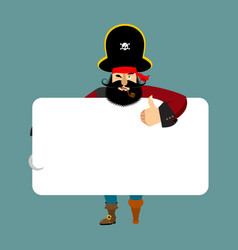 pirate holding banner blank filibuster and white vector image
