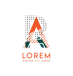ra modern logo design with orange and green color vector image