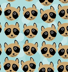 Raccoon Seamless pattern with funny cute animal vector image