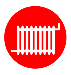 radiator sign white icon in red circle on vector image