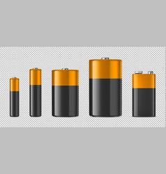 realistic alkaline batteriy icon set vector image