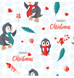 seamless pattern with cute penguins hand-drawn vector image