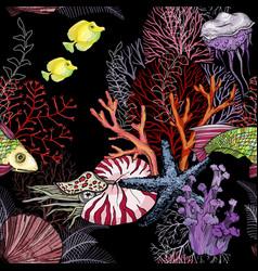 seamless pattern with dark ocean night hand drawn vector image