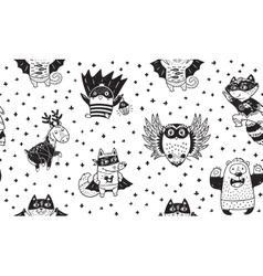 Seamless pattern with Superhero animals Ink vector image