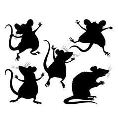 Set black rats and mice vector