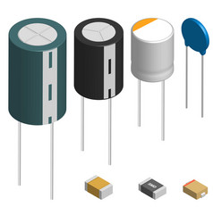 set of different capacitors in 3d vector image