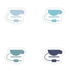 Set of paper sticker on white background Wi fi cup vector