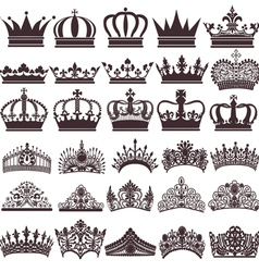 Set of silhouettes of vintage crown vector