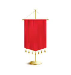 short red pennant flag with realistic silk texture vector image