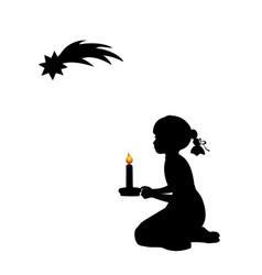 silhouette praying girl with candle christmas vector image
