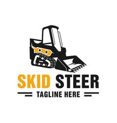 Skid steer heavy equipment logo vector