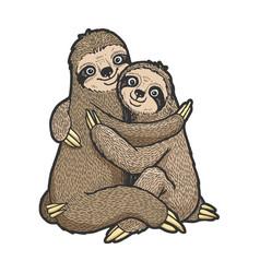 Sloth love couple hug sketch vector