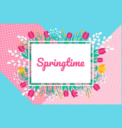 springtime background with flat minimal vector image