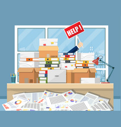 Stressed businessman in pile of office papers vector