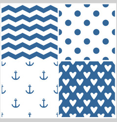 Tile sailor pattern set with polka dots zig zag vector